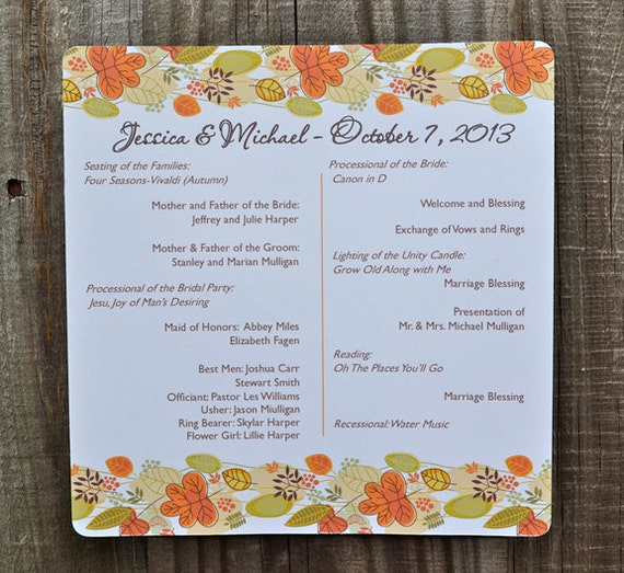 Fall Leaves Banner Autumn Personalized Wedding Program, Fall Wedding Programs, Halloween Wedding, Autumn Wedding, Leaves Border Program