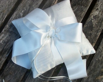 Ring Bearer Pillow/Cushion Ivory, White or cream Raw Silk with Large Wide Satin Ribbon Bow