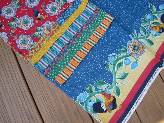 Quilt fabric scraps, destash, Roosters and berries