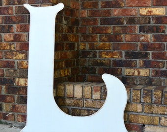 """36"""" Wooden Letter L, Elegant Font in Distressed White -  all letters available in many colors"""