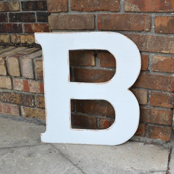 """18"""" Wooden Letter B, Classic Font in Distressed White - all letters available in many colors"""