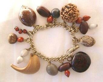Vintage Estate Wood Seed Pod Charm Bracelet