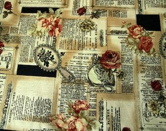 Victorian Rose - Victorian Watermark Style - YUWA - Cotton Linen Fabric - Fat Quarter