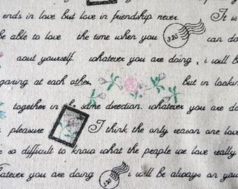 Rose and Love Letter - black - Cotton Linen Fabric - Fat Quarter