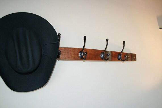 Wood Wine Barrel Stave Coat Rack, Hat Rack, Key Chain Rack or Towel Rack
