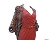 Taupe brown crochet shrug cardigan