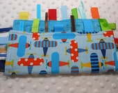 Go Airplanes On Blue Crinkle Ribbon Sensory Minky Toy Blanket