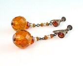 Czech Art Deco Cognac Glass Faux Pearl Dangle Earrings Screw Backs 1920s Signed Jewelry