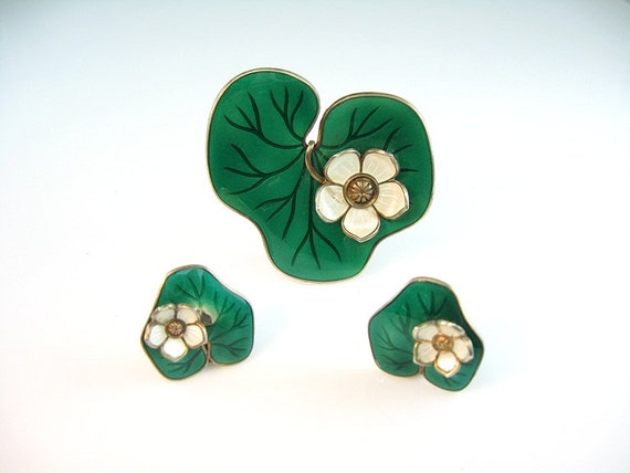 David Andersen Norway Gilt Sterling Enamel Water Lily Set Pin Earrings Winnaess 1950s Jewelry