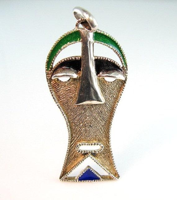 Sterling Enamel Mask Pendant Sculptural with Basse Taille Blue Green Black Enamel Tribal