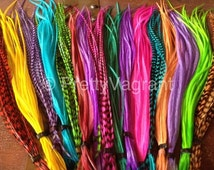 Feather Hair Extensions You Pick 6 colorful and grizzly XL long rainbow feather extensions Best rooster hair feathers on Etsy