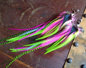 Bright Neon Feather Earrings - Hot Pink Florescent Lime Green Grizzly Long Feather Jewelry - Feather Dangle Earrings