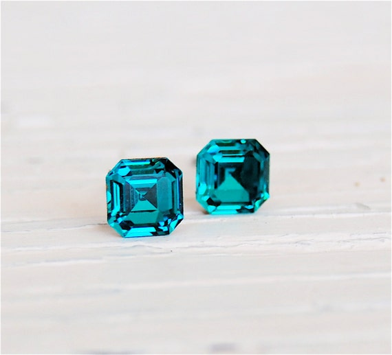 Teal Blue Peacock Earrings, Swarovski Crystal Stud Earrings - Teenies - 6mm - Square Vintage Earrings - Jewelry By Mashugana