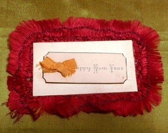 Antique Vintage Victorian Happy New Year Calling Greeting Gift Card Red Silk Fringe Printed Holiday Paper Ephemera