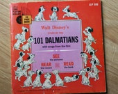 Vintage Walt Disney Story of 101 Dalmatians Book and 33 1/3 LP Record