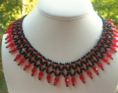 Red and black fringe necklace.Free shipping ETSY.