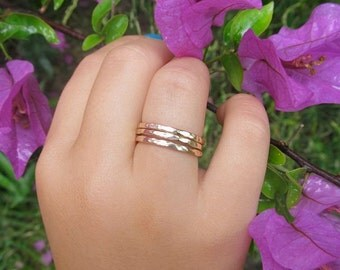Stacking Rings, 3 Gold Hammered Bands, Textured, Christmas Gift Idea, Stocking Stuffer, Handmade Hawaii Jewelry, Stack Ring, Boho Fashion