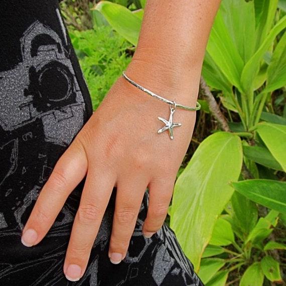 Sterling Silver Bangle, Starfish Charm, Hawaii Beach Jewelry, Hammered Bracelet, Summer Fashion, Mermaid Accessory, Ocean Lover Gift Idea