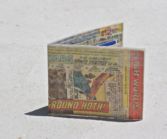 Star Wars Wallet comic book bifold Battleground Hoth recycled upcycled vintage marvel comics hostess twinkies vintage ad captain marvel