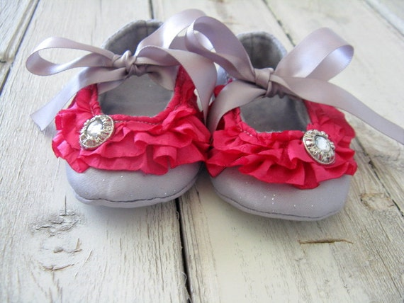 Baby Shoes -Hot Pink Gray Baby Shoes - Hot Pink Ruffle Baby Booties - Baby Crib Shoes - Baby Ballet Slippers - Booties - Fabric Baby Shoes
