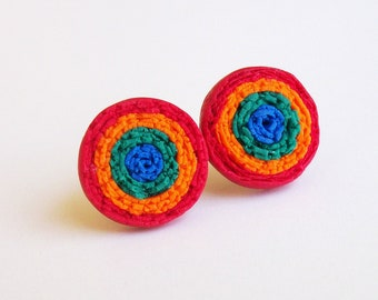 Mexican Fiesta Flower Earrings, Polymer Clay Handmade Earrings