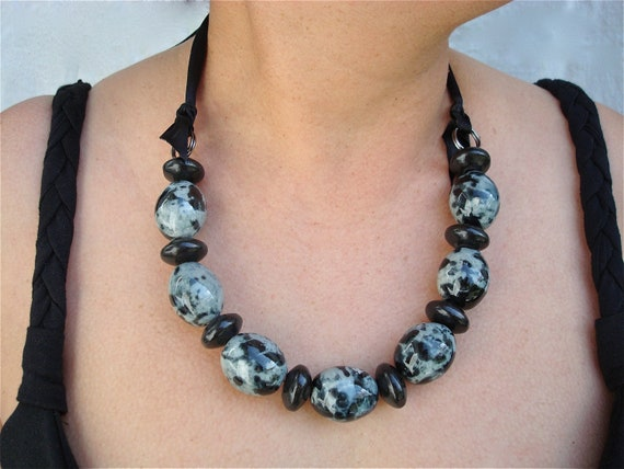 """Big Chunky Gray and Black Ceramic Necklace """"Frida Mia"""" Collection"""