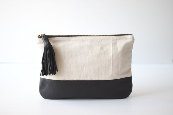 GRANDE- Medium Canvas and Leather Carry-all Pouch in Black