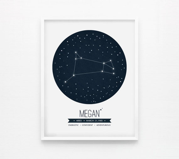 Personalized Custom Star Constellation, Astrological  Zodiac 8x10+