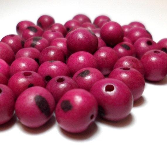 Acai Beads - Natural Seed Beads Fuchsia Fuschia 30 Pieces
