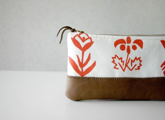 Pencil case Leather bottom and repurposed cotton tribal flowers