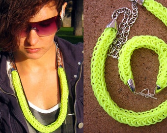 Neon yellow necklace, chunky knit necklace, statement neon yellow necklace, tube necklace, rubber cord, modern jewelry, trendy