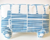Handprinted Pillow 'Autobus' Organic Cotton Blue/White