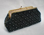 8 Inches - Black Beautiful Quilted & Beads Purse - Come Along With Chain