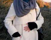 Fingerless gloves black gloves cozy gloves , knitted women gloves ,for her