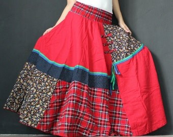 Circle Maxi Skirt Cotton Hippie Red Women Long Skirt / Wide Flowing Full Patch Work Costume Skirt