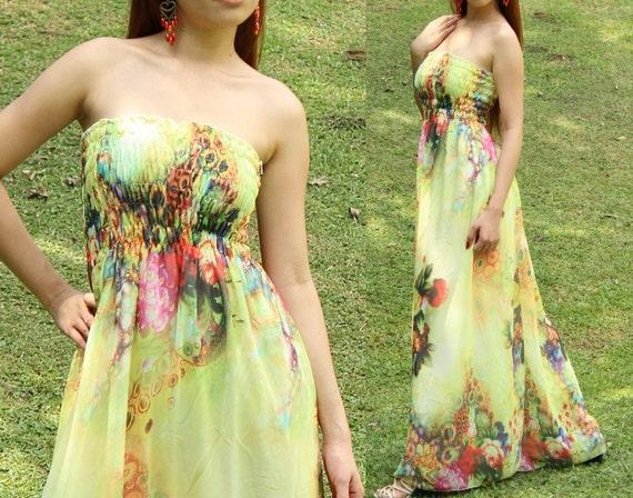 Dreamy Collection Long Maxi Dress Strapless Bridesmaid Dress/ Sundress Chiffon Dress