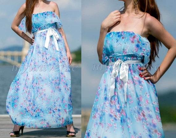 Dreamy Collection Long Maxi Dress Soft Blue Bridesmaid Dress/ Sundress Chiffon Summer Dress