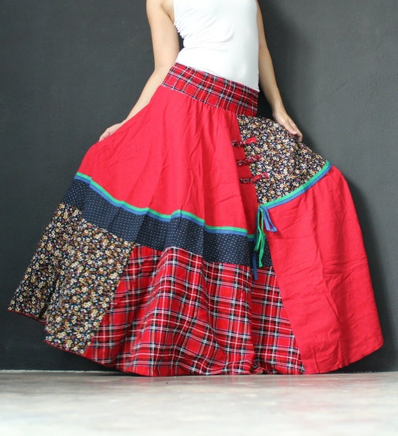 Circle Maxi Skirt Cotton Hippie Red Women Long Skirt / Wide