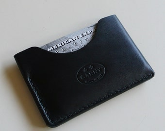GARNY - Leather Card Case / Simplified wallet from black leather - bm