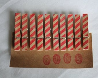 Mini Candy Cane Striped Clothespins - Set of 10 Handstamped Clothes Pins