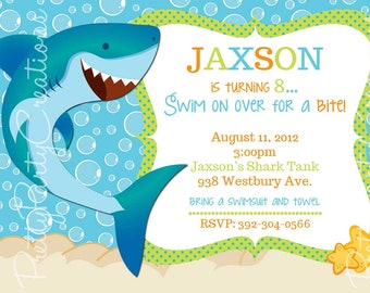 SHARK invitation - you print - birthday/pool party