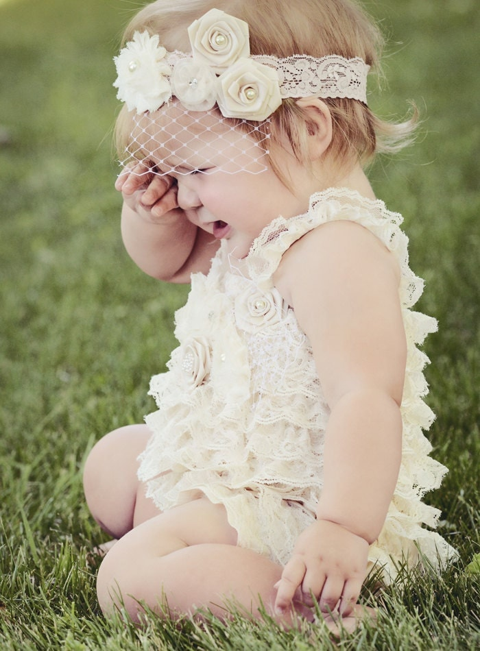 Lace Romper Baby Ivory Newborn Shoot