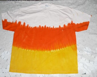 """Tie dye tshirts-  Instant Halloween Costume- """"Candy Corn"""" in adult sizes from small to 6- some sizes ready to ship! 400"""
