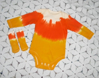 Tie dye bodysuit /socks OR toddler, youth, adult tshirts- CANDY CORN- Halloween Costume- Some sizes available for shipment today, 900
