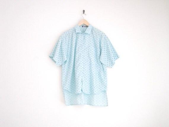 vintage pale seafoam green geometric print shirt