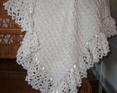 Lacy White Afghan with White Satin Ribbon - Made To Order