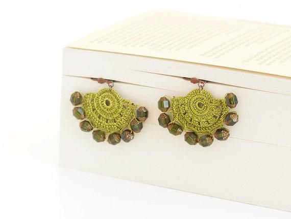 Crocheted Earrings Apple Green OOAK Varnished Hoop Hippie Boho Czech crystals Semicircle Hittites Twin Idol Goddess