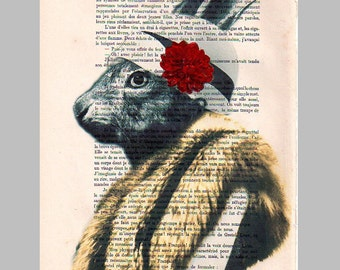 Drawing Illustration Giclee Prints Posters Mixed Media Art Acrylic Painting Holiday Decor Gifts: Ms Rabbit