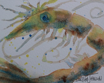 Fiesta Shrimp- Original Watercolor Painting by Erika Johnson 5 x 6.5 inches ( 127 x 165.1 mm)