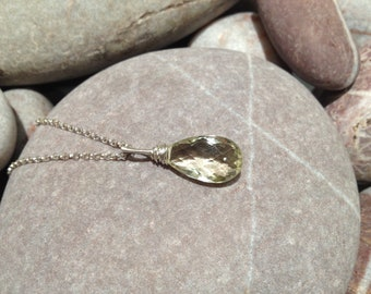 Flaxen - sparkling lemon quartz silver wrapped pendant necklace